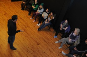 John Muggleton of The Acting Company, working with students.