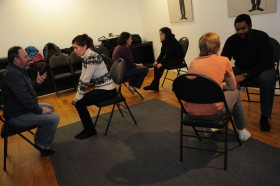Chris Ralph of The Acting Company, working with a class.